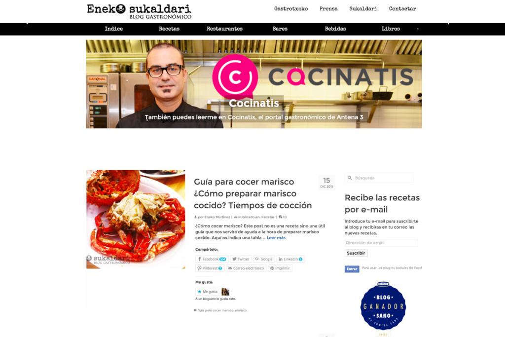 Eneko sukaldari premio Buber Sariak 2015 como mejor proyecto gastronómico Internet Euskadi