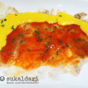 Carpaccio de langostinos con vinagreta de mango - Eneko sukaldari