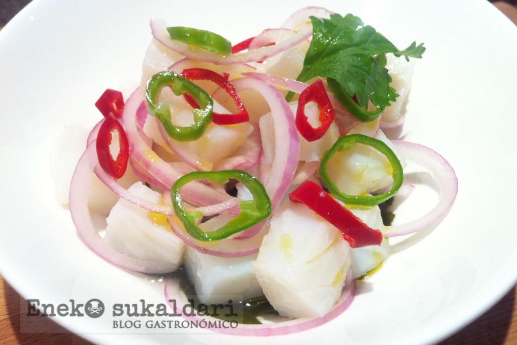 Ceviche de bacalao y cebolla morada de Zalla