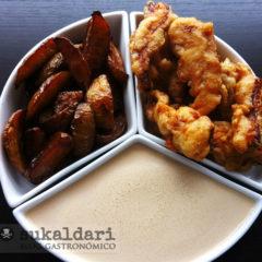 Chips and chicken con crema teriyaki
