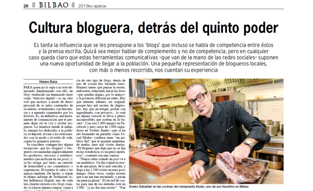 Eneko sukaldari en el diario Bilbao (Eneko sukaldari en la prensa)
