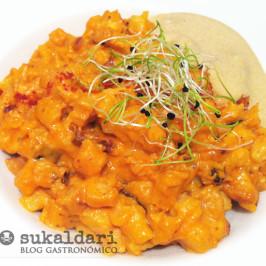 Falso risotto de pulpo y patata con ali oli de mejillones