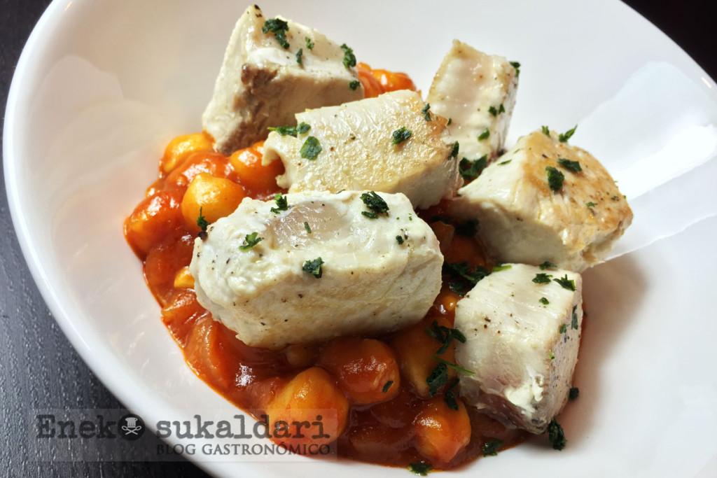 Garbanzos en salsa picante con bonito - Eneko sukaldari
