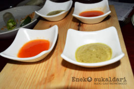 Salsas de chile dulce y cilantro con aguacate