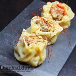 Shaomai de ternera con cebolla morada de Zalla