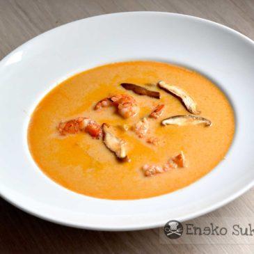 Sopa Thai de gambones y shiitakes - Receta - Eneko Sukaldari